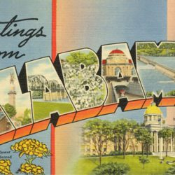 Greetings from Alabama Postcard Stripes
