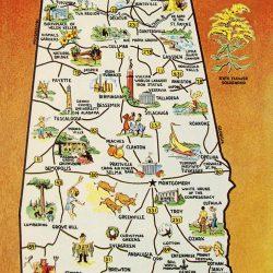 Vintage Greetings from Alabama postcard art print canvas Map of Alabama