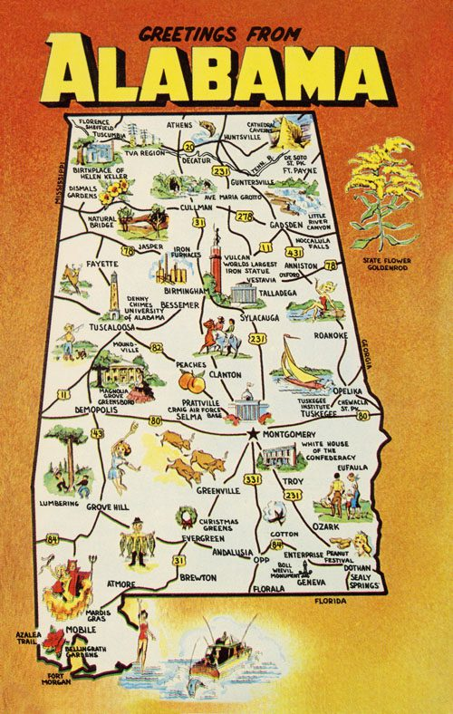 Vintage Greetings from Alabama postcard art print canvas Map of Alabama