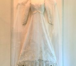 framed wedding dress shadowbox