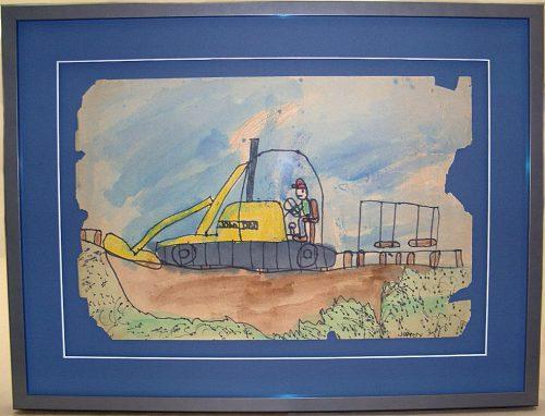 framed children's artwork